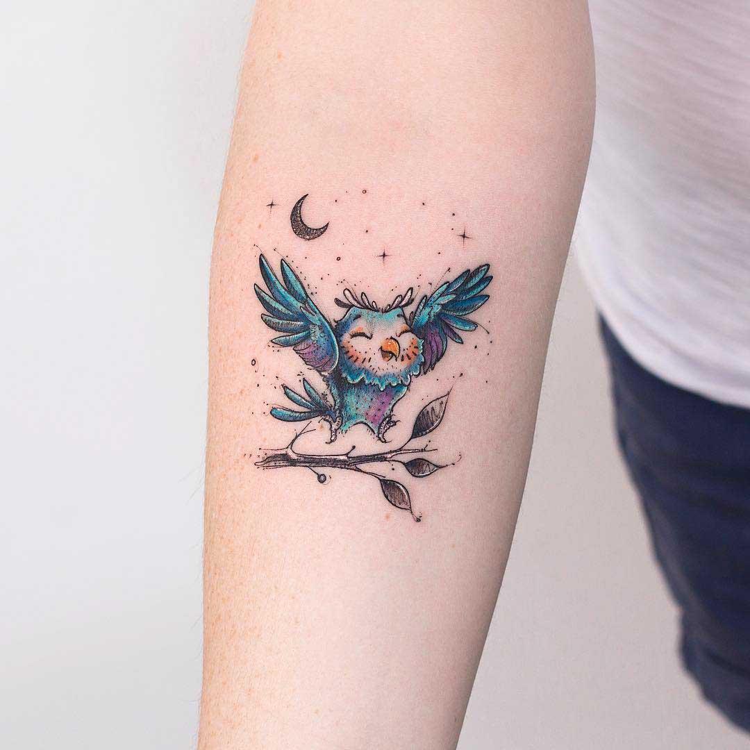 arm tattoo cute owl