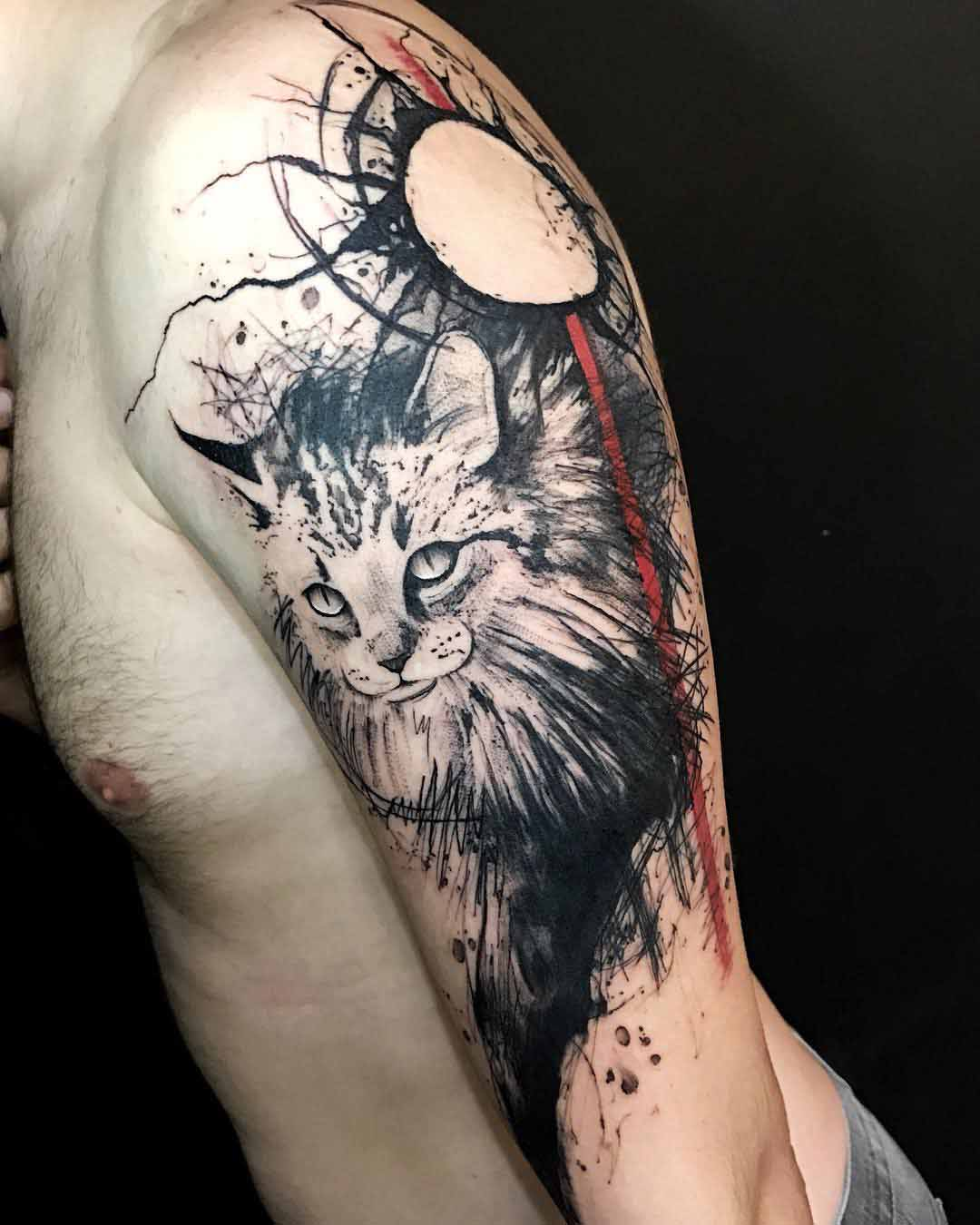 shoulder tattoo cat trash polka