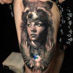 Coon Girl Portrait Tattoo