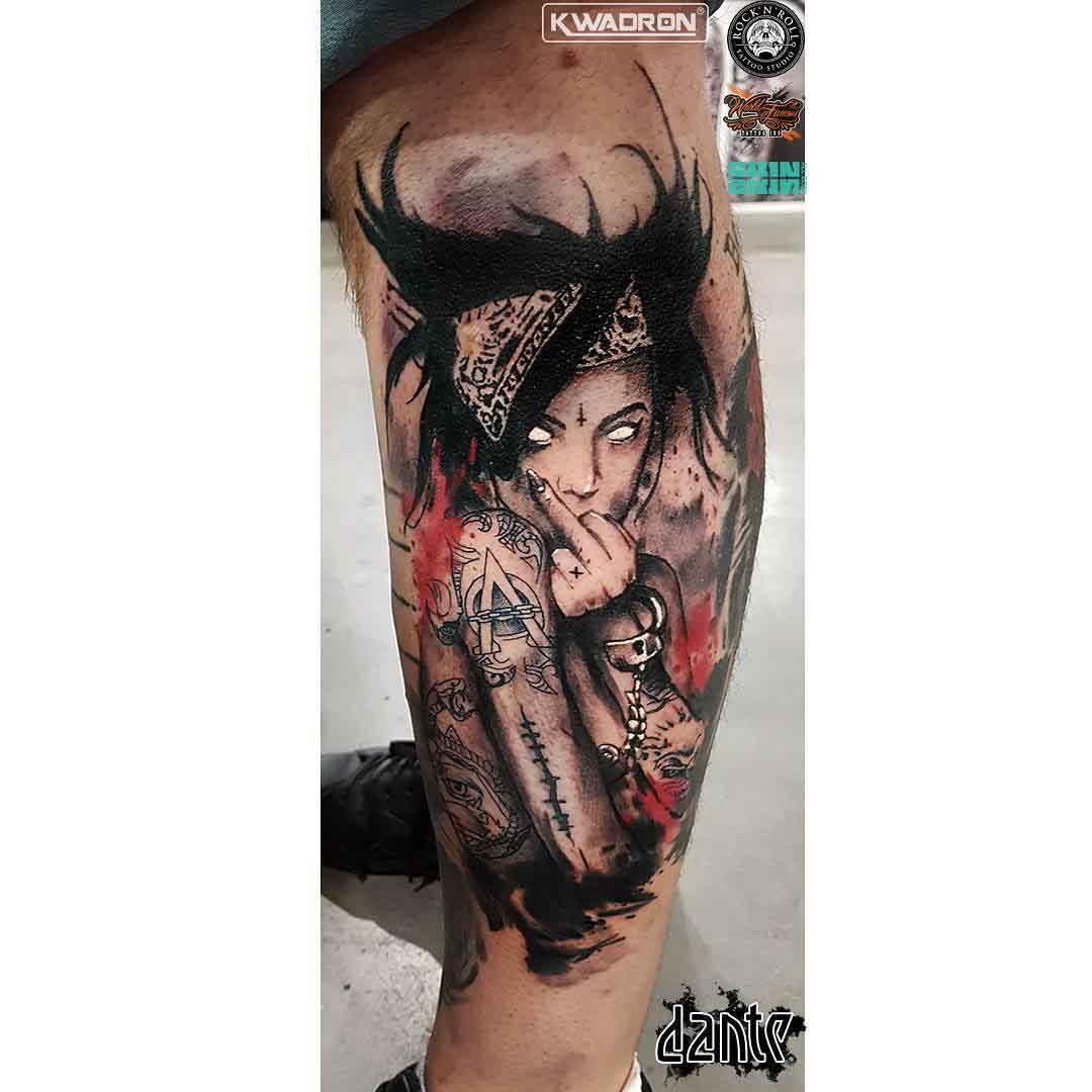 calf side tattoo freak girl