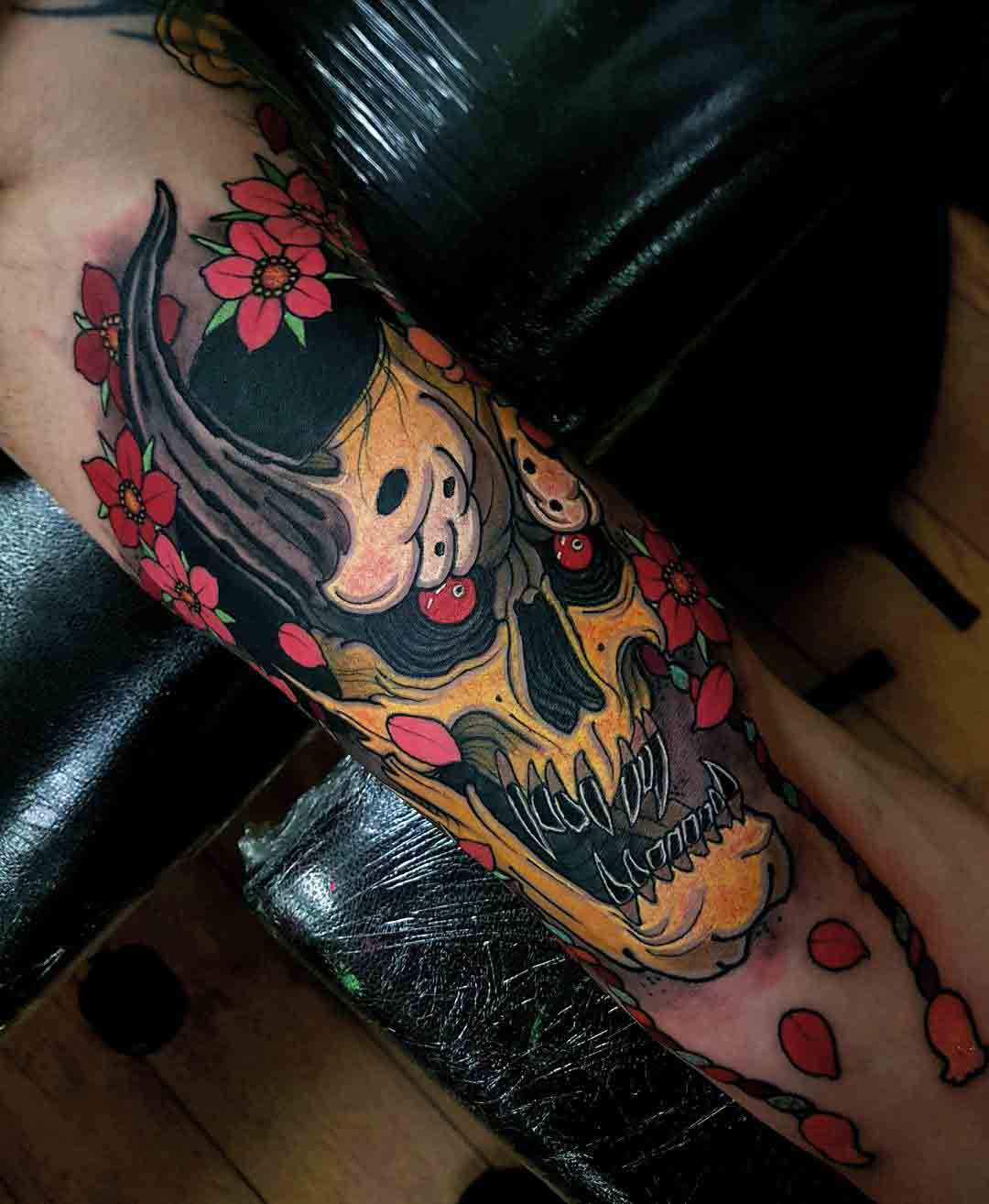 oriental skull tattoo on arm