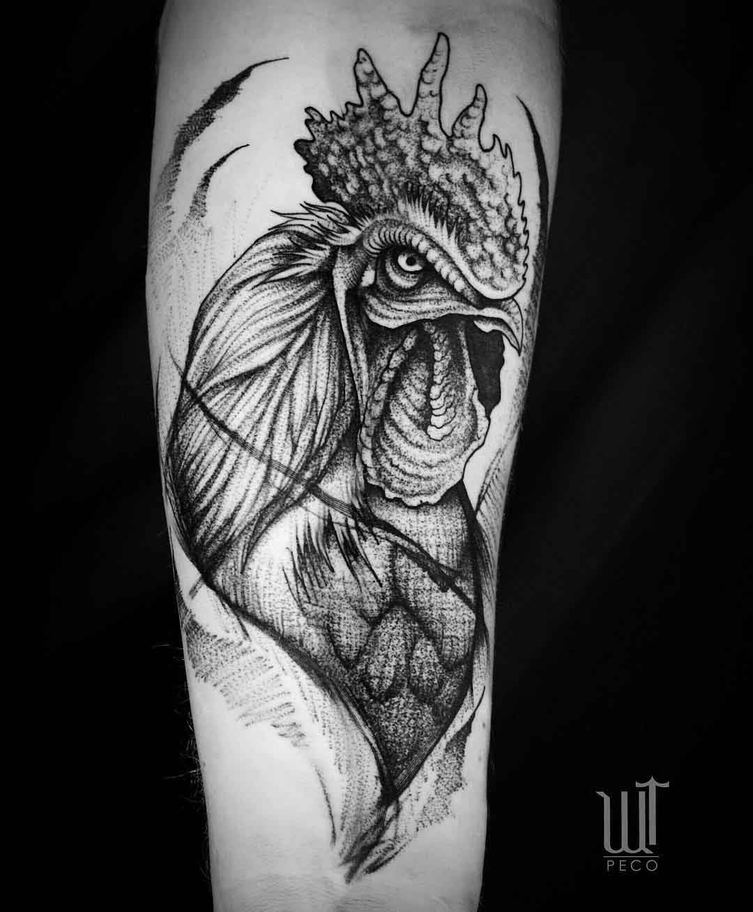 arm tattoo rooster