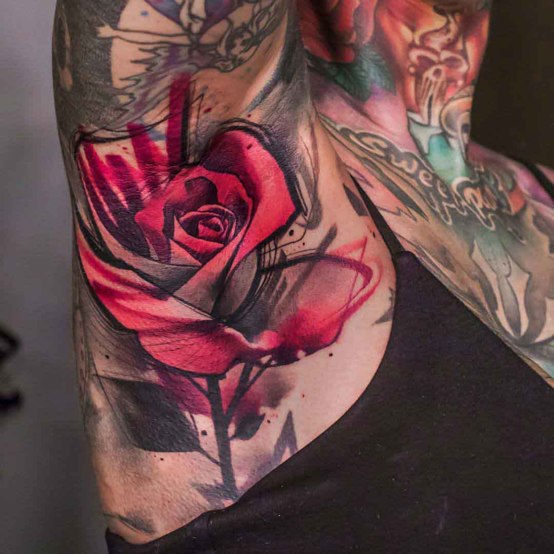 armpit rose tattoo