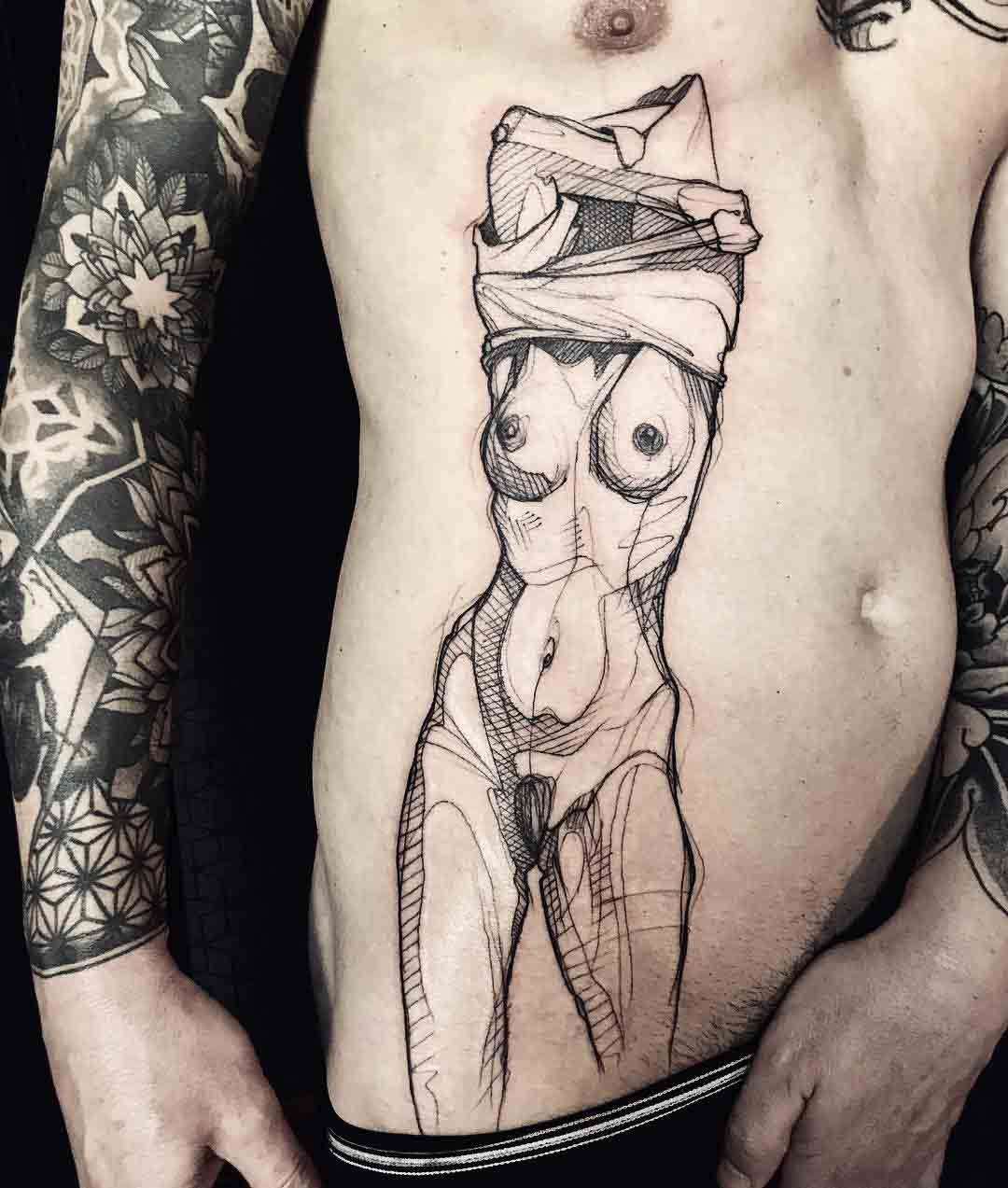 taking off clothes tattoo on stomach