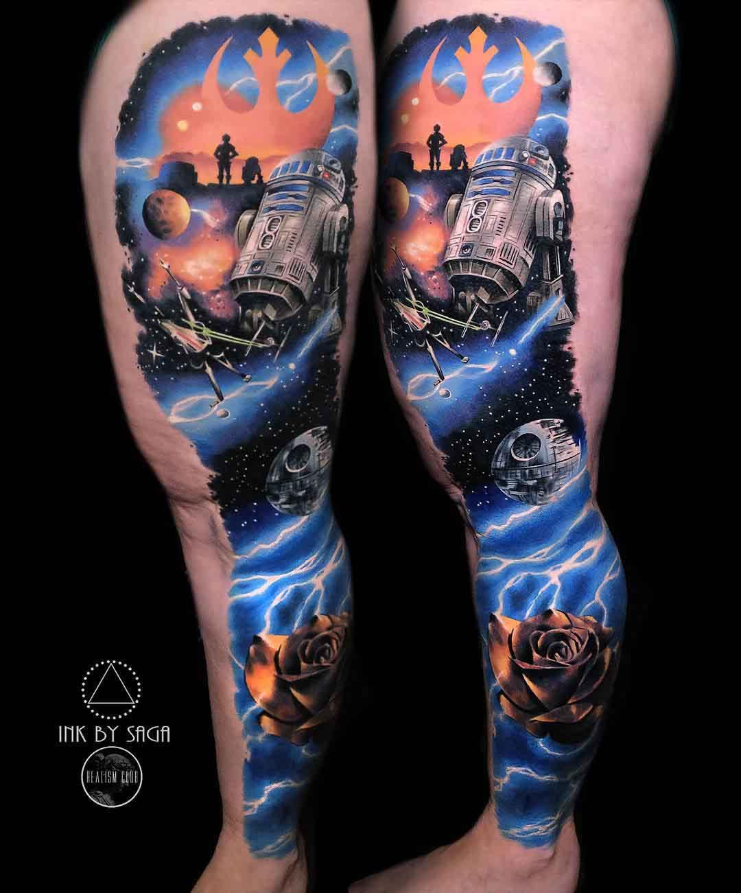leg sleeve star wars tattoo