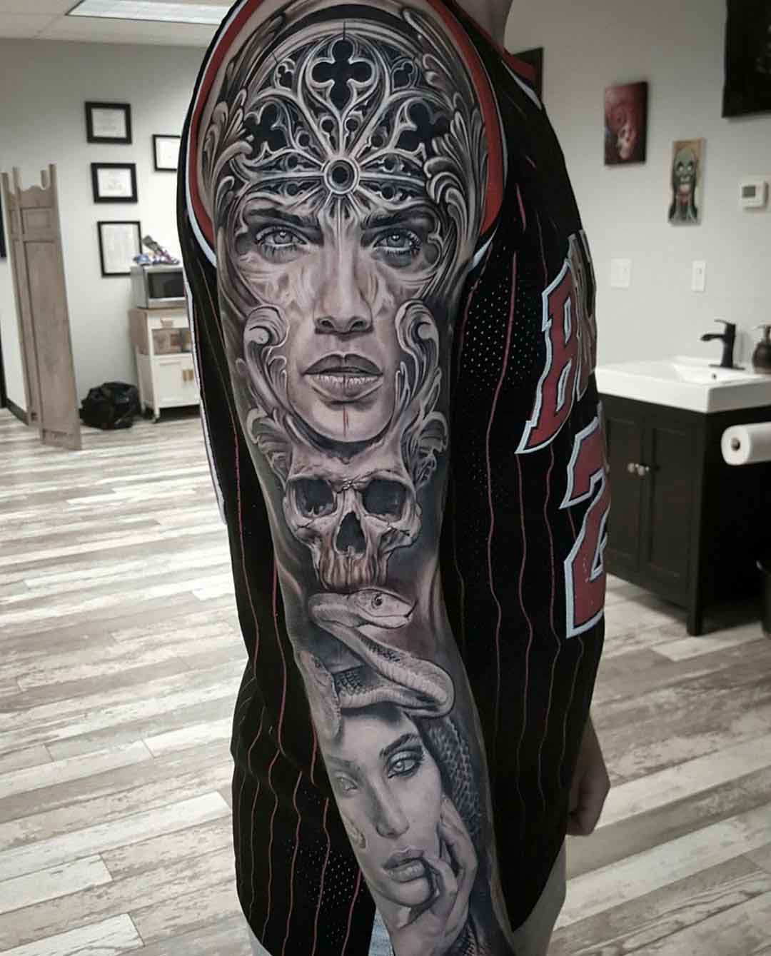 graphic full arm tattoo sleeve