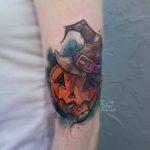 Watercolor Halloween Tattoo