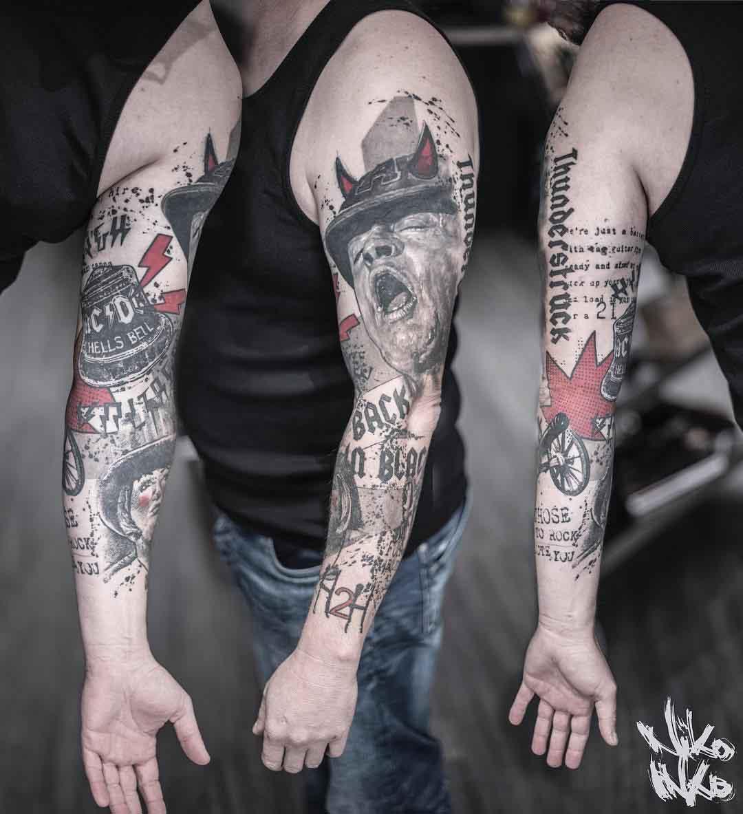 tattoo sleeve trash polka ACDC