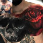 Chest Tattoo Cover Up Skull and Rose
