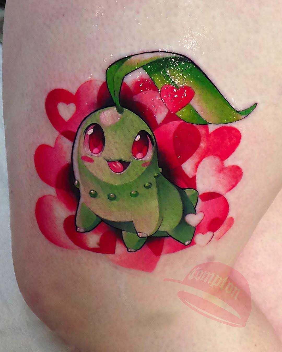cute tattoo chikorita