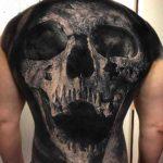 Grey Skull Tattoo on Full Back