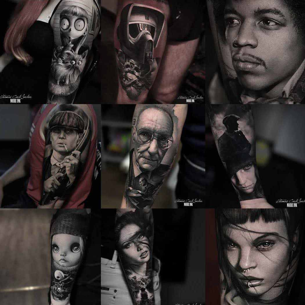 black and grey portrait tattoos