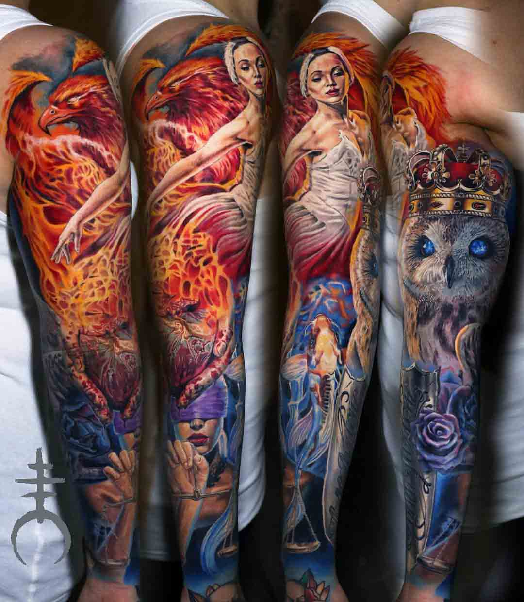 tattoo sleeve passion and cold owl girl phoenix