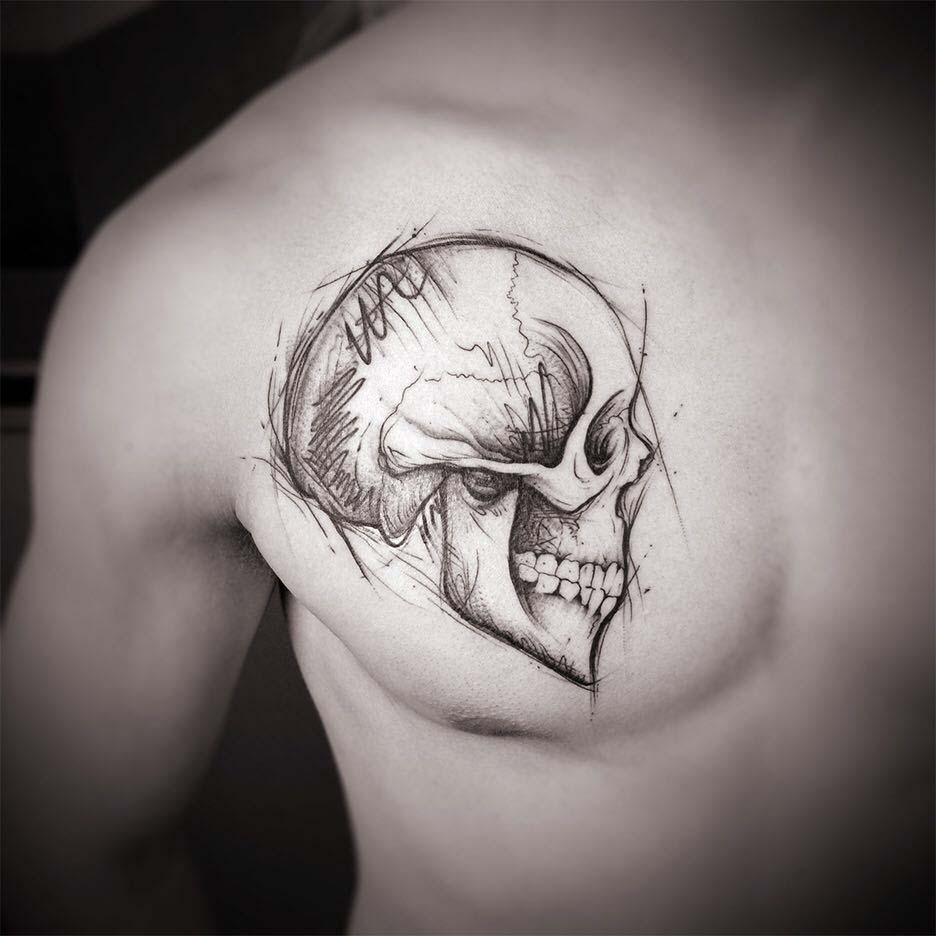 chest tattoo skull
