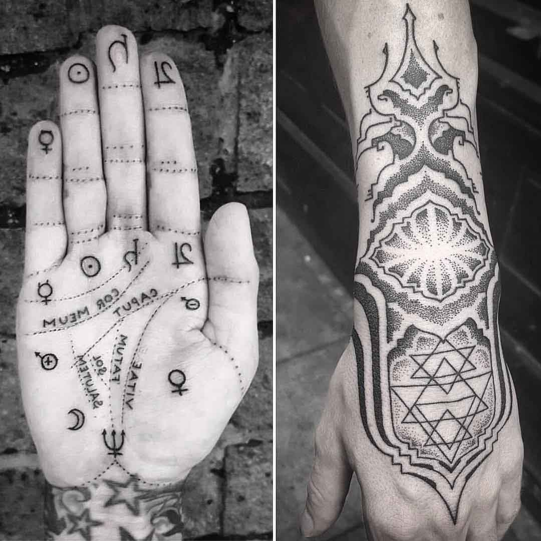 planet symbols on palm and dotwork wrist tattoos