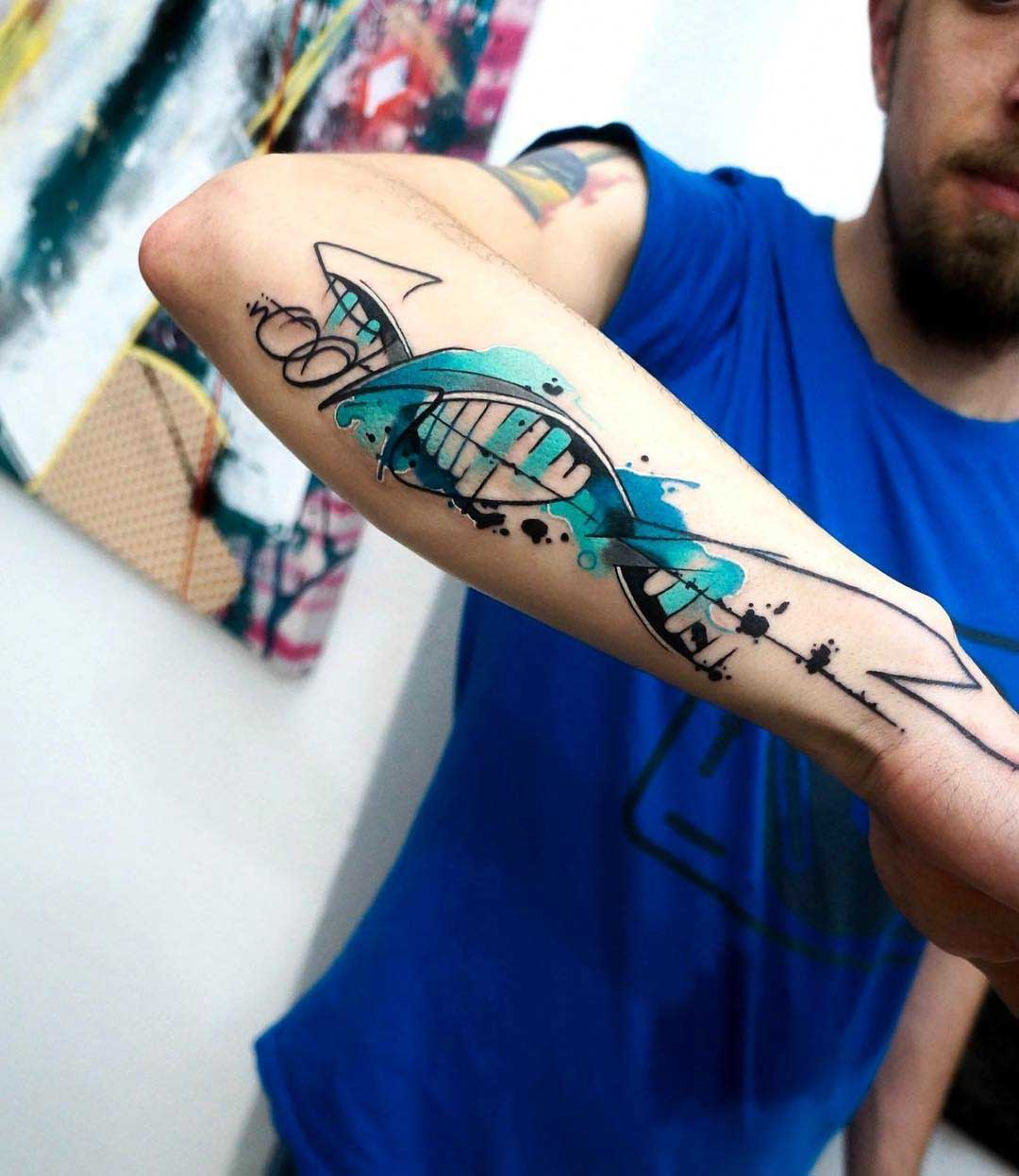 watercolor forearm tattoo DNA