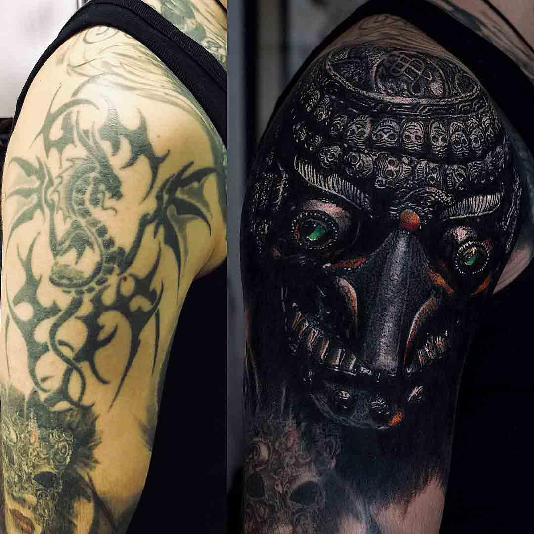 shoulder tattoo cover up kapala skull