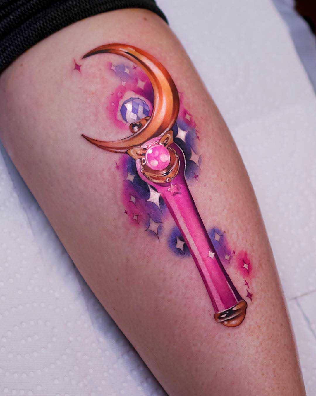 sailor moon tattoo moon stick