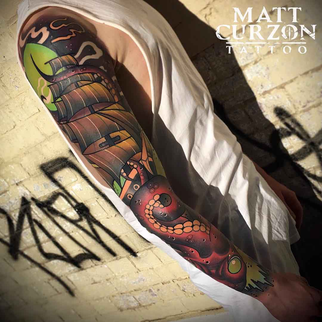 neo-traditional nautical tattoo sleeve
