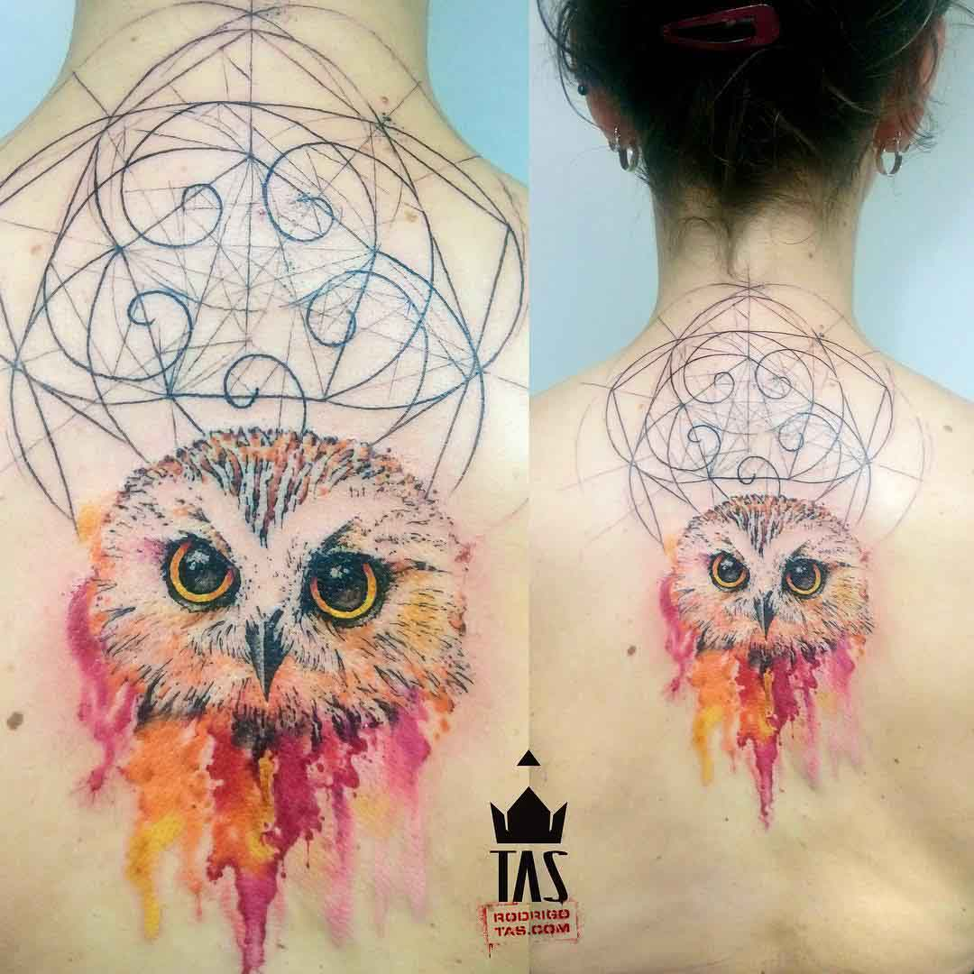 upper back tattoo owl