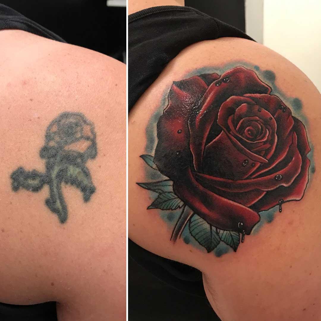 shoulder blade cover up tattoo rose