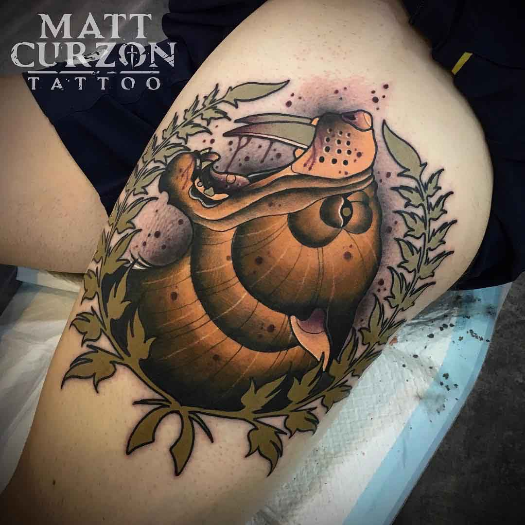 neo-traditional saber-toothed cat tattoo