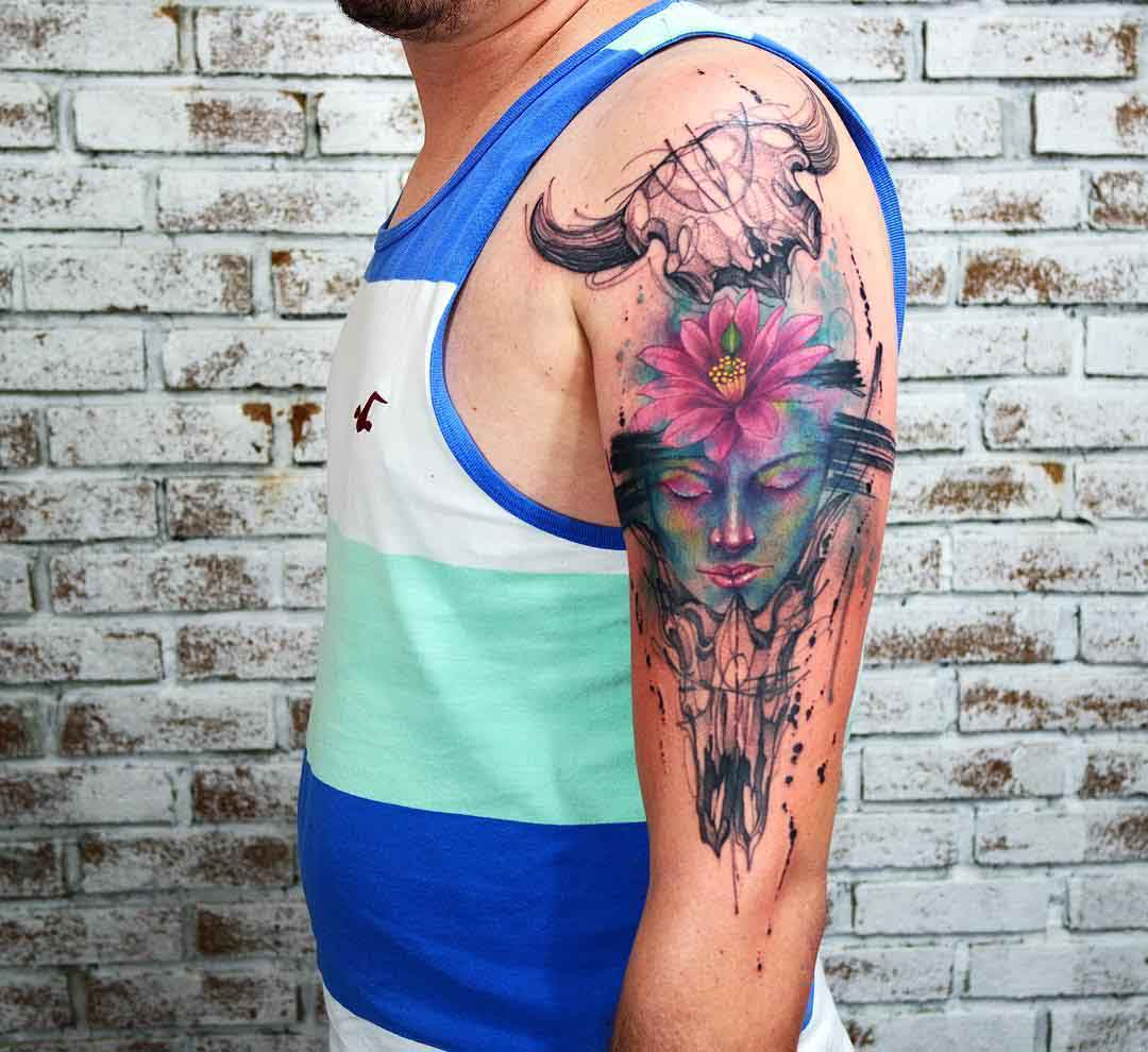 shoulder tattoo zen and skulls
