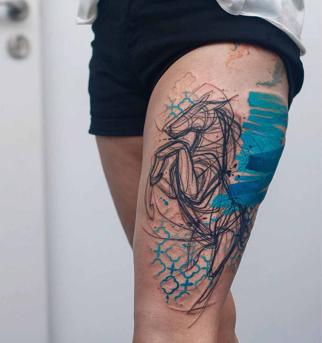sketchy horse tattoo on thigh