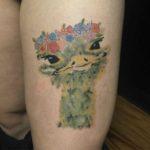 Watercolor Ostrich Tattoo