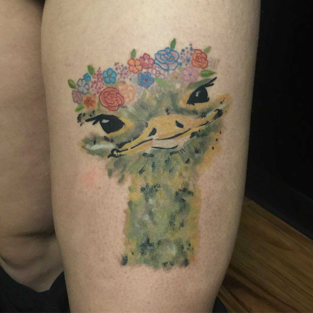 ostrich tattoo watercolor style