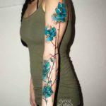 Blue Flowers Tattoo Sleeve