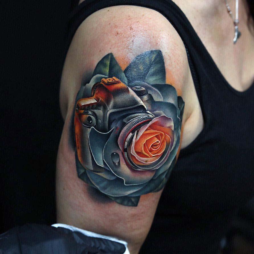 shoulder tattoo rose camera