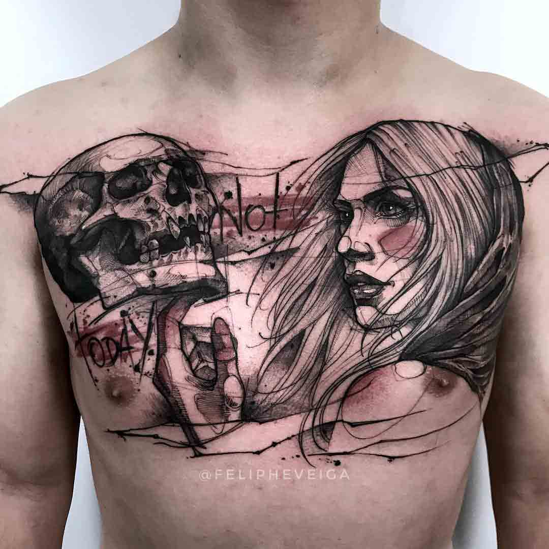 skull and girl tattoo on chest