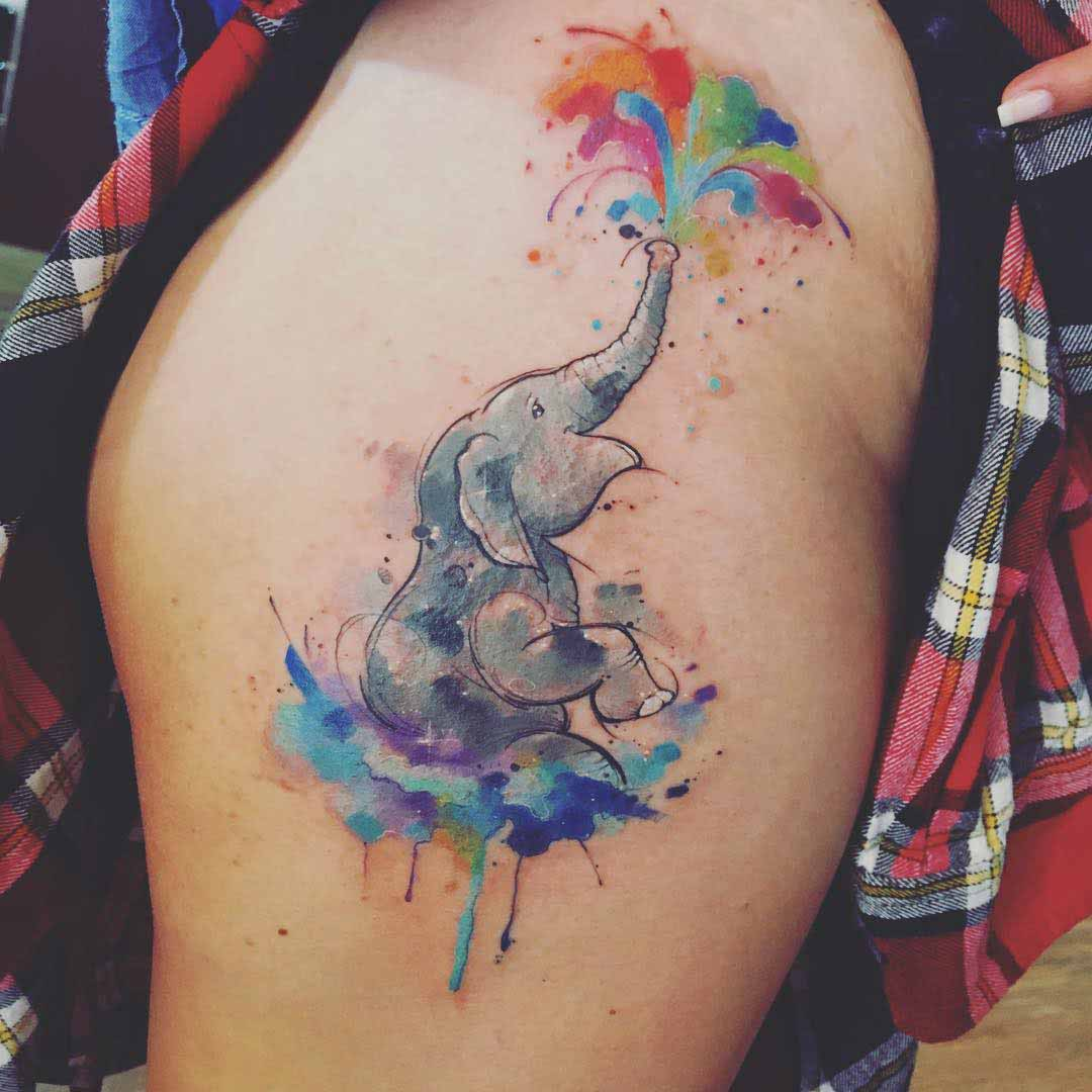 elephant tattoo watercolor style