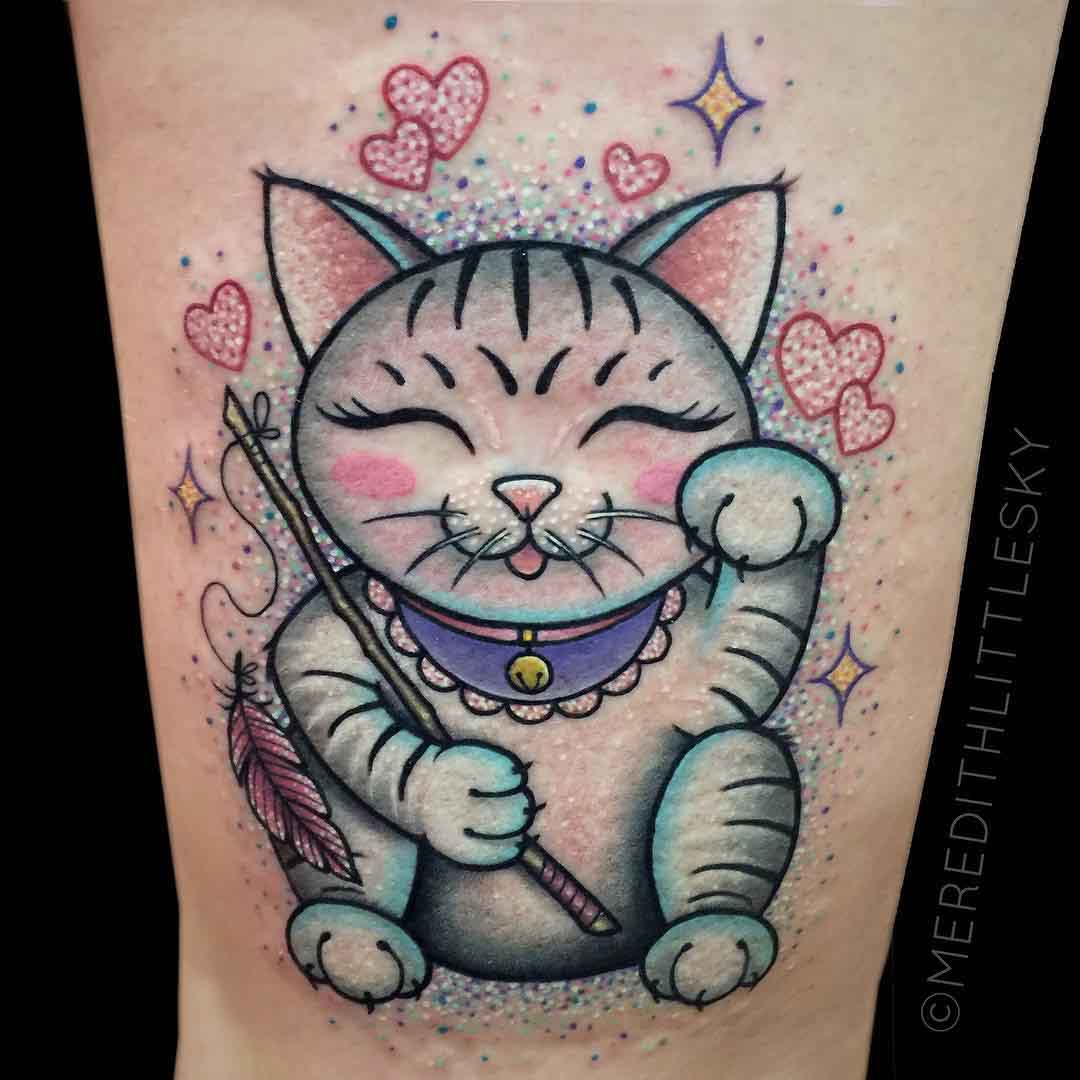 lucky cat tattoo kawaii