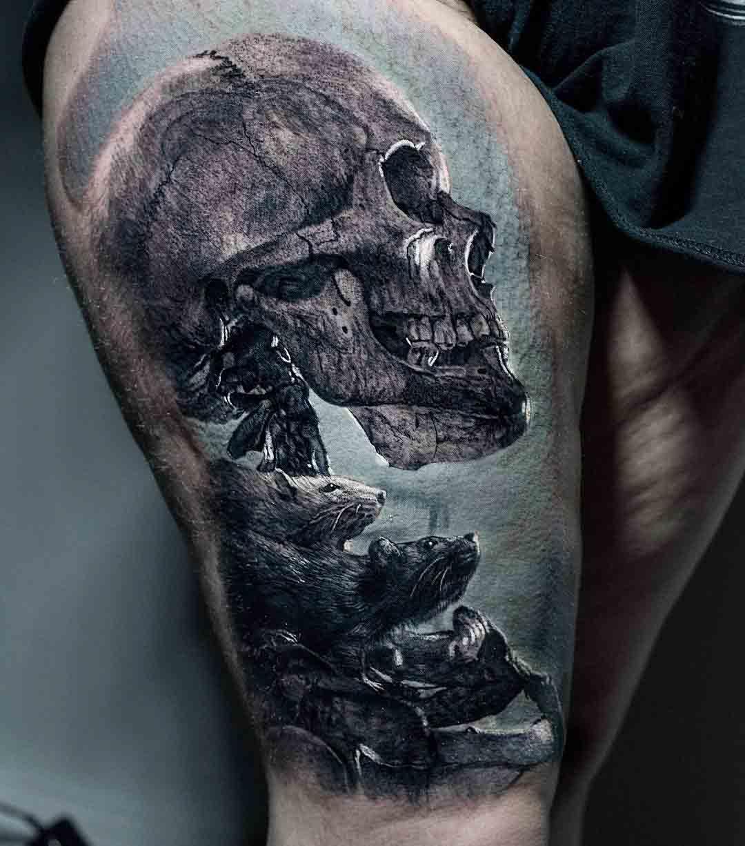 thigh tattoo skeleton realistic style