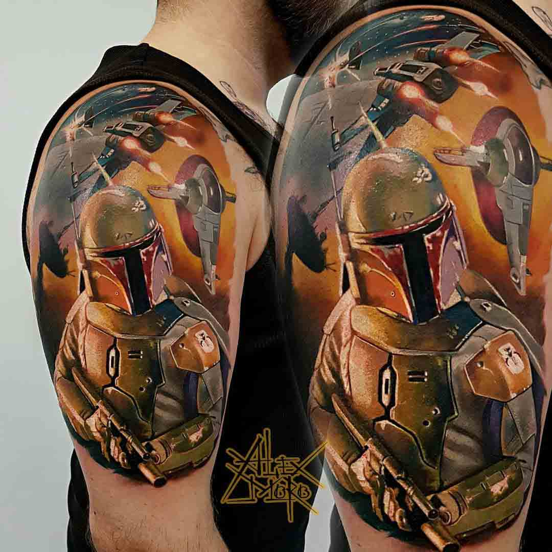 shoulder tattoo star wars