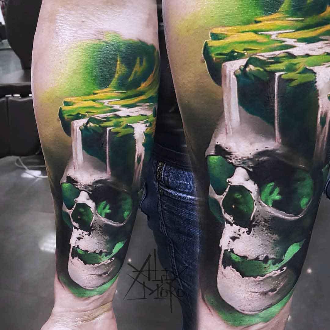 skull tattoo with waterfalls