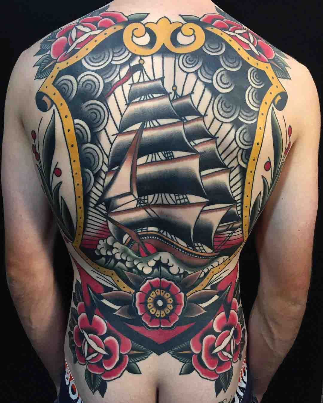 nautical tattoo on back sailing ship