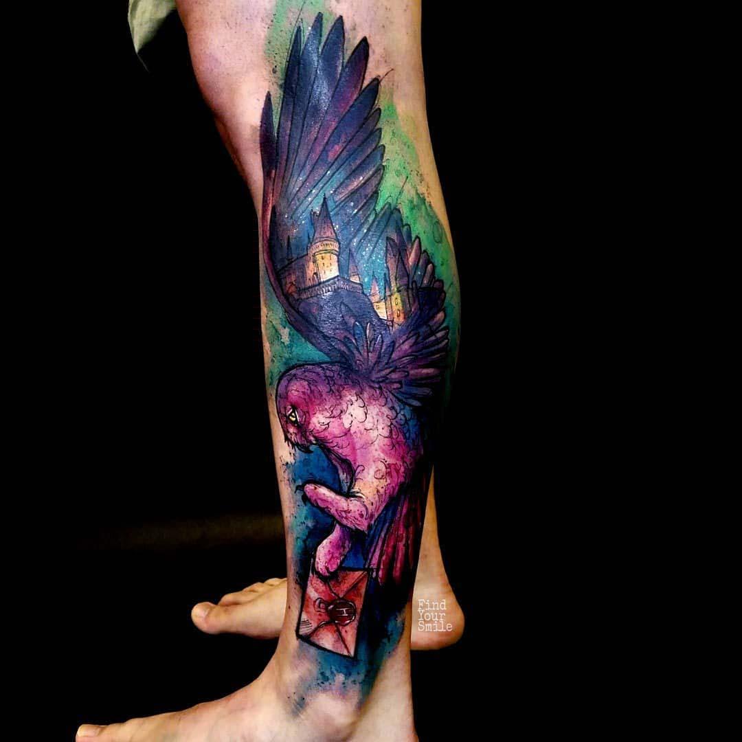 leg tattoo watercolor hofwards owl