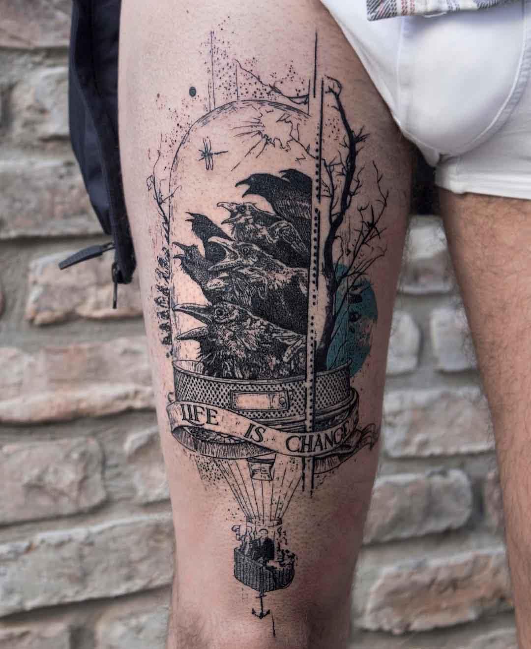 ravens thigh tattoo life is chance