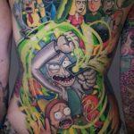 Rick and Morty Tattoo on Torso