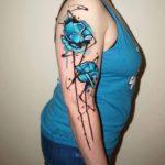 Shoulder Blue Flowers Tattoo