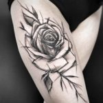 Sketchy Rose Tattoo on Thigh