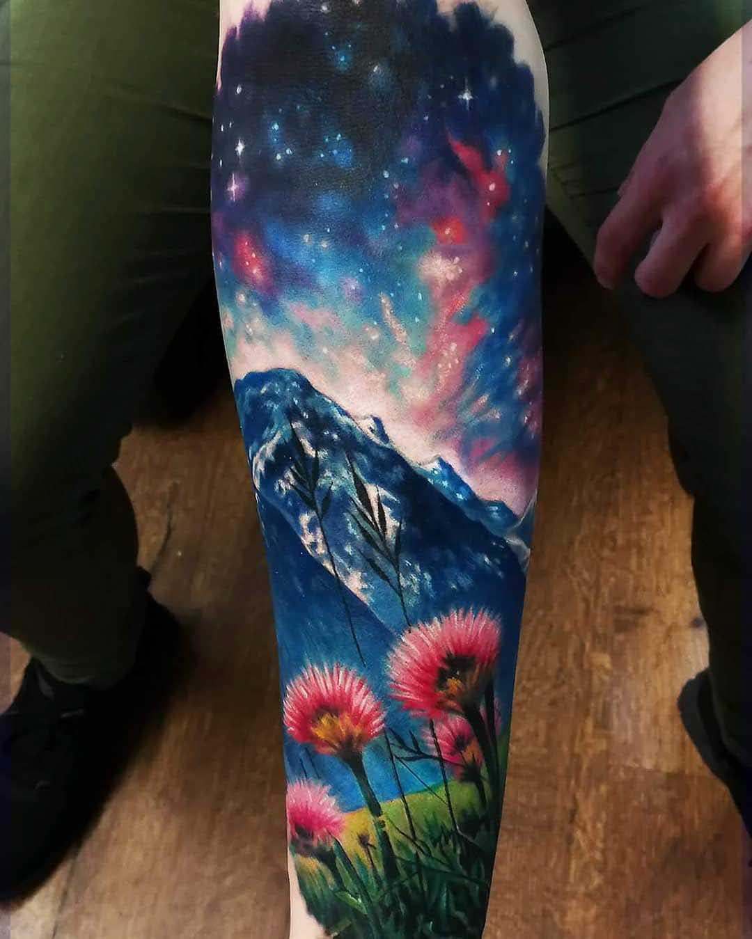 landscape tattoo mountains and starry sky universe