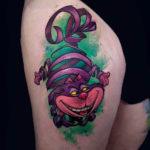 Thigh Tattoo Cheshire Cat