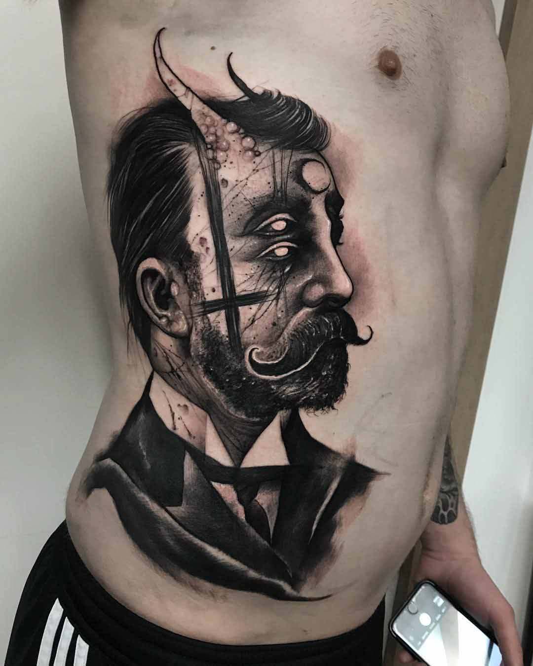 torso side tattoo victorian gentleman