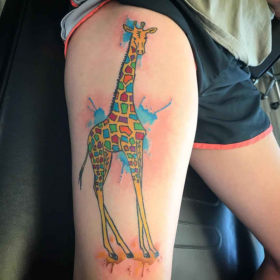 thigh tattoo watercolor giraffe