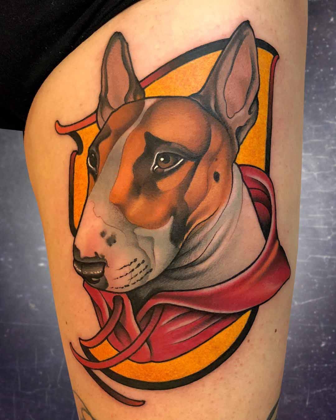 dog tattoo portrait bull terrier