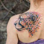Cheetah Tattoo on Shoulder Blade
